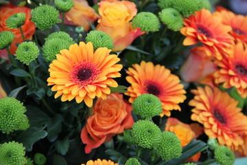 Blütentraum mit Gerberas und Rosen formatfüllend