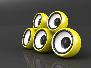 yellow audio system over grey background