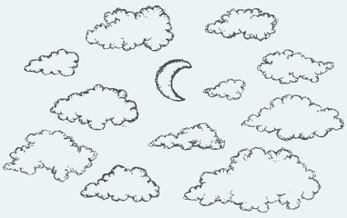 Vector sketch. Clouds and crescent
