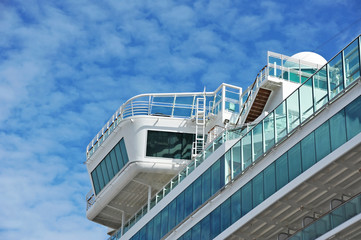 Cruise tourist ship, detail and blue sky