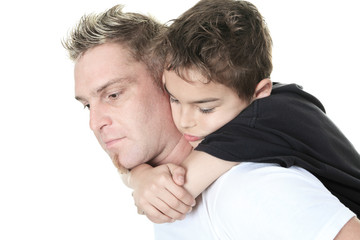 A son and his father pensive in studio white background