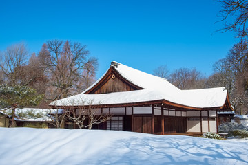 Shofuso Japanese Teahouse and Gardens in Winter weather