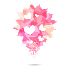 Pink origami heart on white backdrop