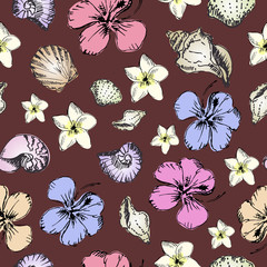 Seamless pattern of tropical flowers and seashells.