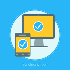 Flat design concept for Synchronization