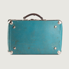 Vintage leather suitcase. blue, turquoise. Baggage. isolated