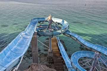 Water slide by the sea