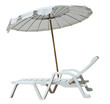 White umbrella and sun lounger