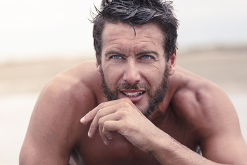 Close up Handsome Thoughtful Athletic Man with No Shirt