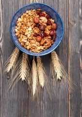 Granola with nuts and dried berries. Top view.