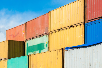 Stacked colored containers at the harbor of Catania