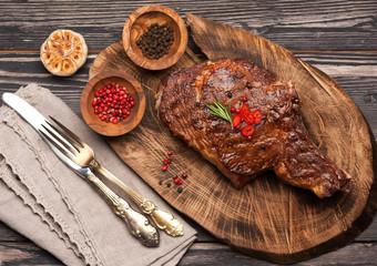 Meat Ribeye steak entrecote. Top view