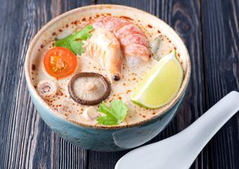 Thai soup Tom Yam. Seafood