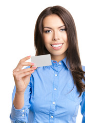 Young businesswoman with business or plastic credit card