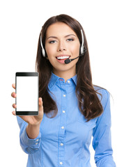 Portrait of support phone operator with cellphone, on white