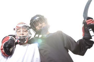 A Portrait of hockey ball player with hockey stick