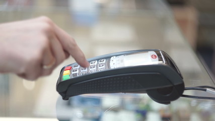 Man pays the credit card purchase, Credit Card Machine