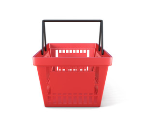 Empty red plastic shopping basket