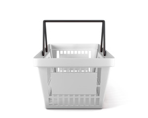 Empty white plastic shopping basket clipping path
