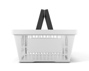 Empty white plastic shopping basket