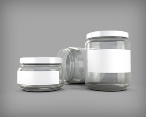 Glass jars of various sizes