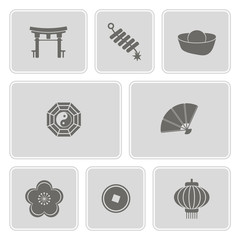 set of monochrome with  chinese New year icons