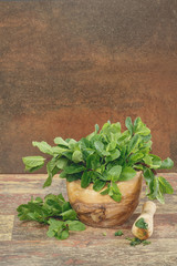 Mortar with fresh mint leaves