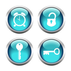 Set of buttons for web, keys, padlock, watch. Vector.