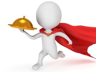 Brave superhero waiter with gold tray