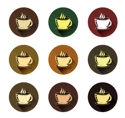 coffee cup icons set with long shadow effect