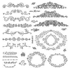 vector floral decor set of hand drawn vintage doodle frames