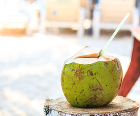 Coconut for drink on the beach