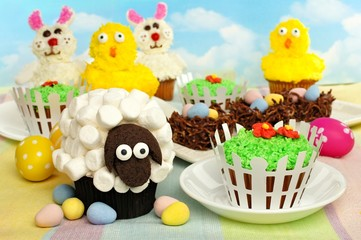 Colorful Easter cupcakes and treats display
