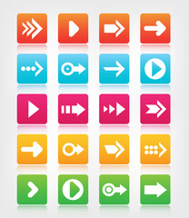 set of arrow navigation colorful buttons
