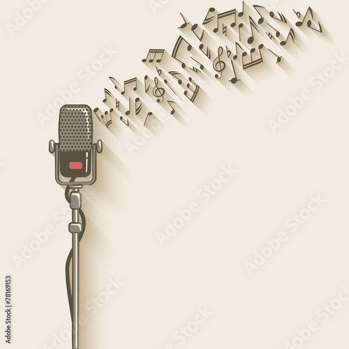 background with retro microphone - 78169153