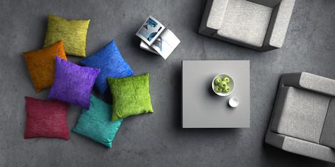 2 Sessel mit farbigen Kissen