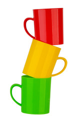 Many color plastic cup on white background