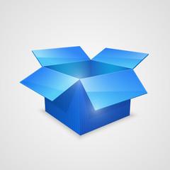 Color vector open box. blue