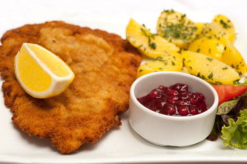 Famous Wiener Schnitzel with side dish in Austrian restaurant