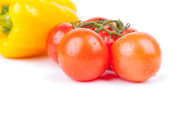 Bunch  of red cherry tomatos