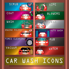 car wash icons on copperplate