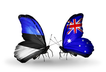 Two butterflies with flags Estonia and Australia