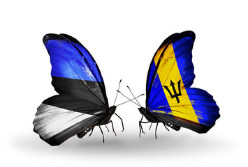 Two butterflies with flags Estonia and Barbados