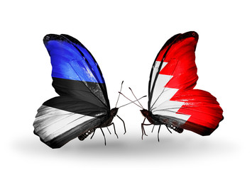 Two butterflies with flags Estonia and Bahrain