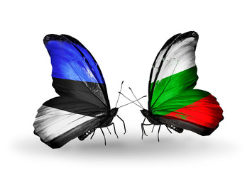 Two butterflies with flags Estonia and Bulgaria