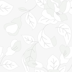 soft gray floral seamless pattern
