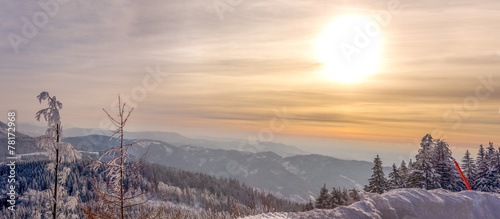 canvas print picture Sonnenuntergang im Winter