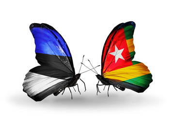 Two butterflies with flags Estonia and Togo