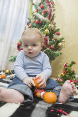 portrait of a child on a background of Christmas tree