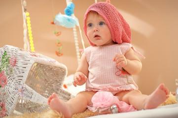 European little girl in pink